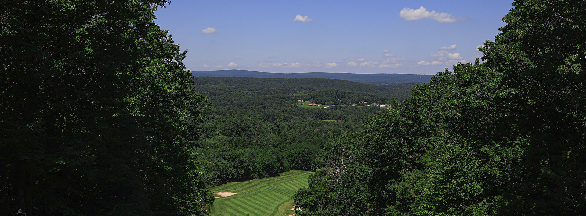 A panoramic view of the pocono mountains from the golf course
